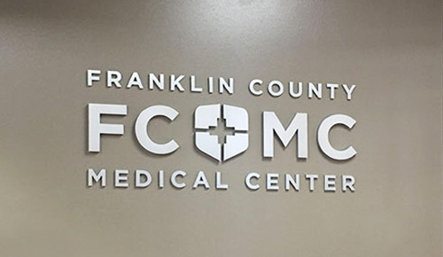 Franklin County Medical Center flat cut aluminum letters lobby sign