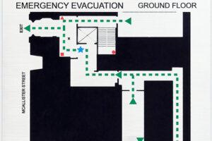 Aluminum Plaque Fire Emergency Evacuation Sign - McAllister Street