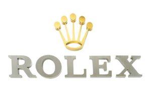 Aluminum Flat Cut Letters Brass Logo - Rolex