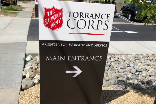 Aluminum directional signs - Salvation Army, Torrance Corps