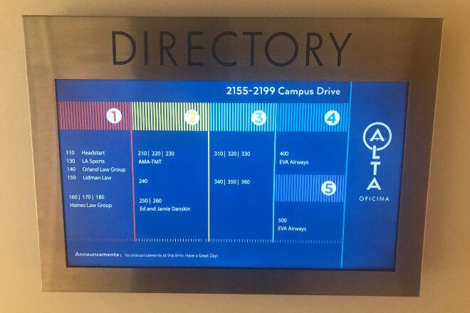 Digital illuminated directory - Campus Drive