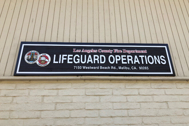 Sandblasted signs, Los Angeles County Fire Department